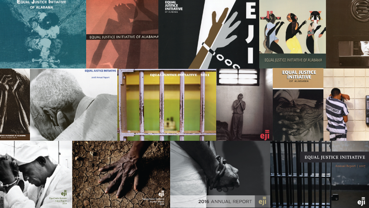 Collage of covers from EJI annual reports
